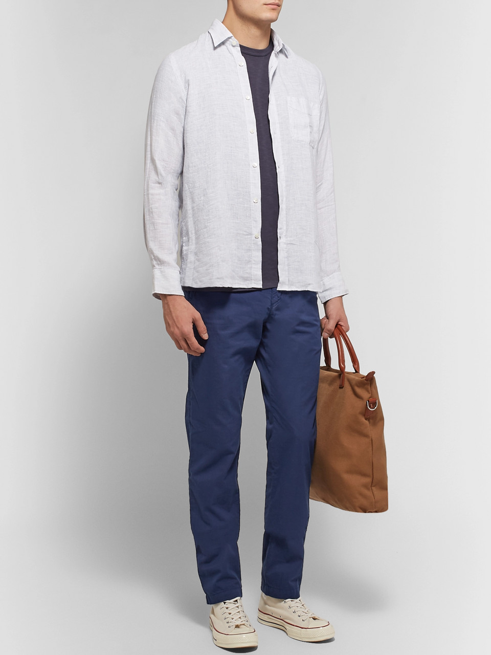 Hartford Troy Slim-Fit Cotton-Chambray Drawstring Trousers