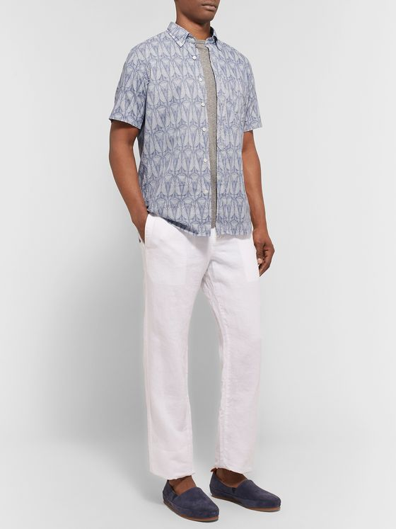 HARTFORD Slim-Fit Button-Down Collar Printed Cotton Shirt
