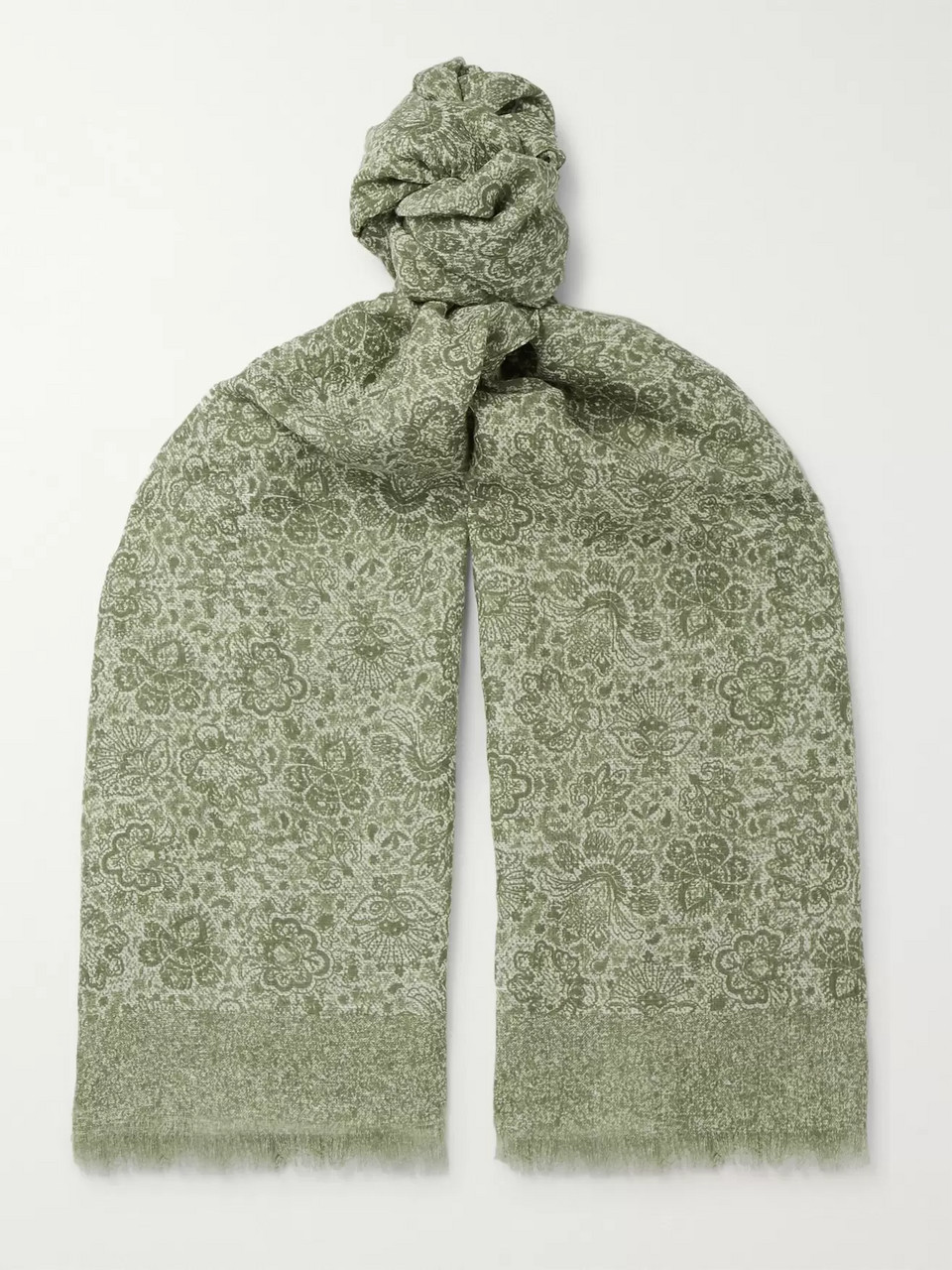 Isaia Fringed Paisley-Print Cotton and Linen-Blend Scarf