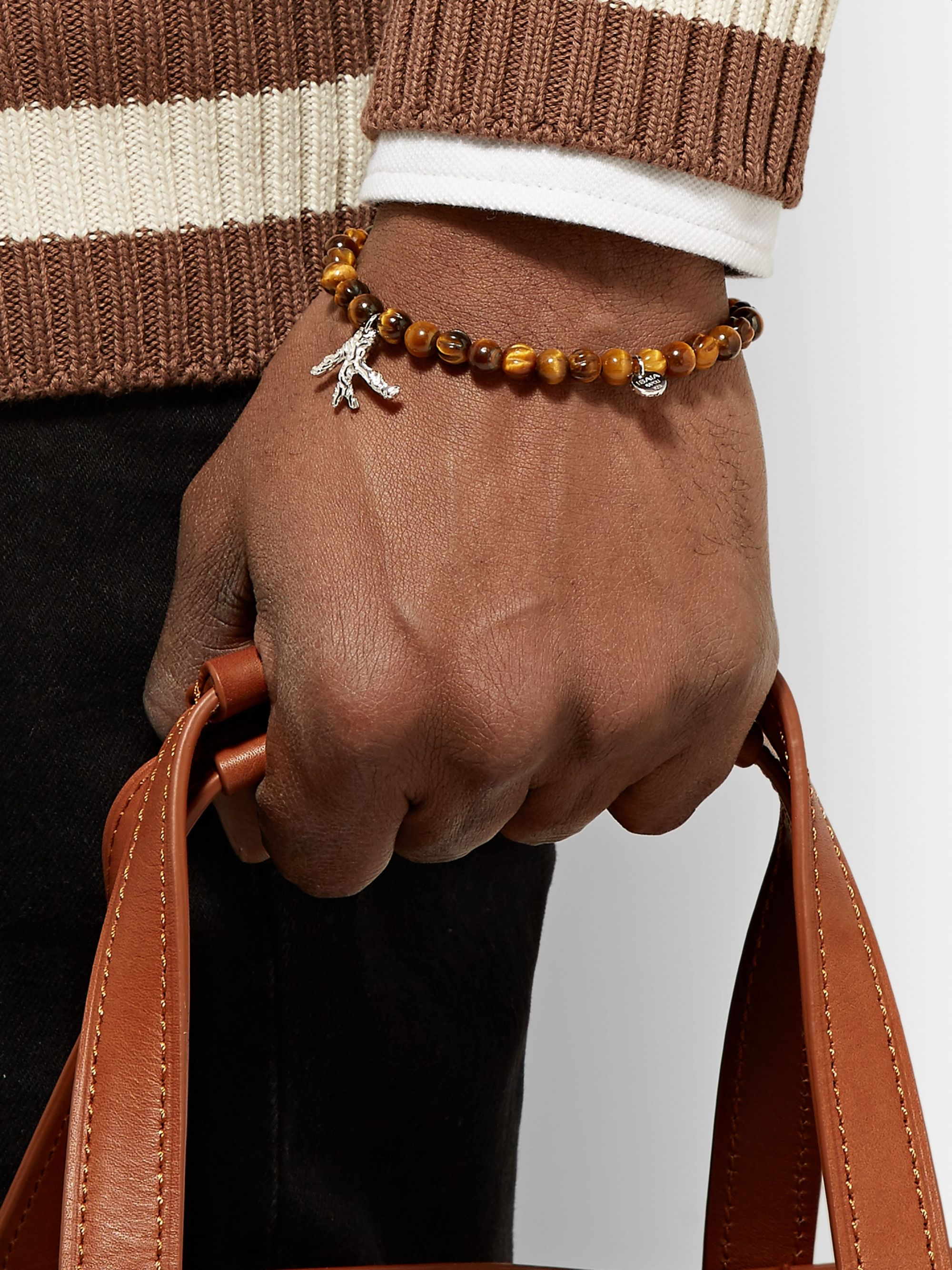Isaia Tiger's Eye and Sterling Silver Beaded Bracelet