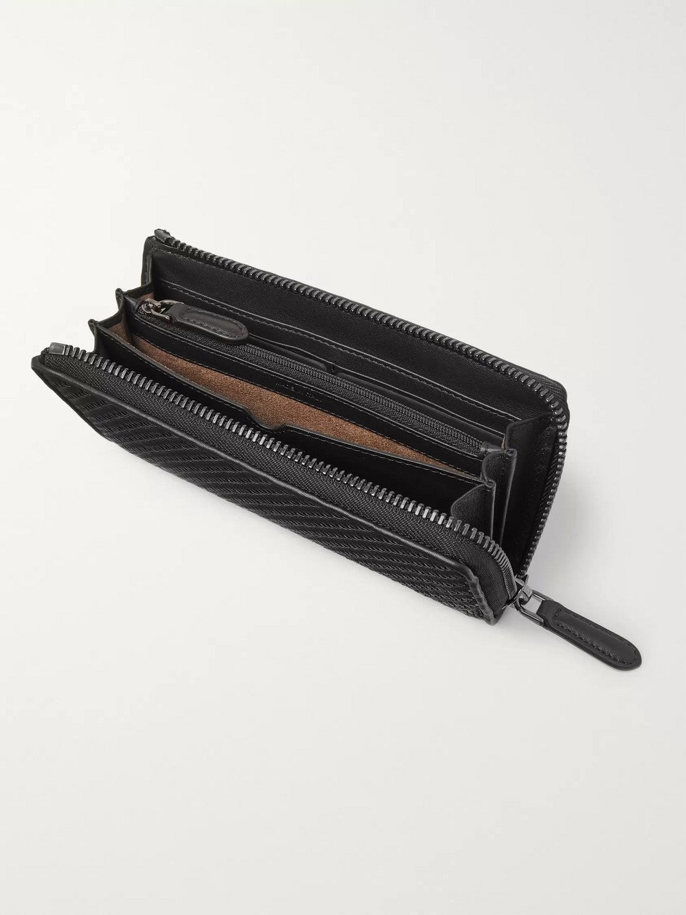 Ermenegildo Zegna Pelle Tessuta Leather Zip-Around Wallet
