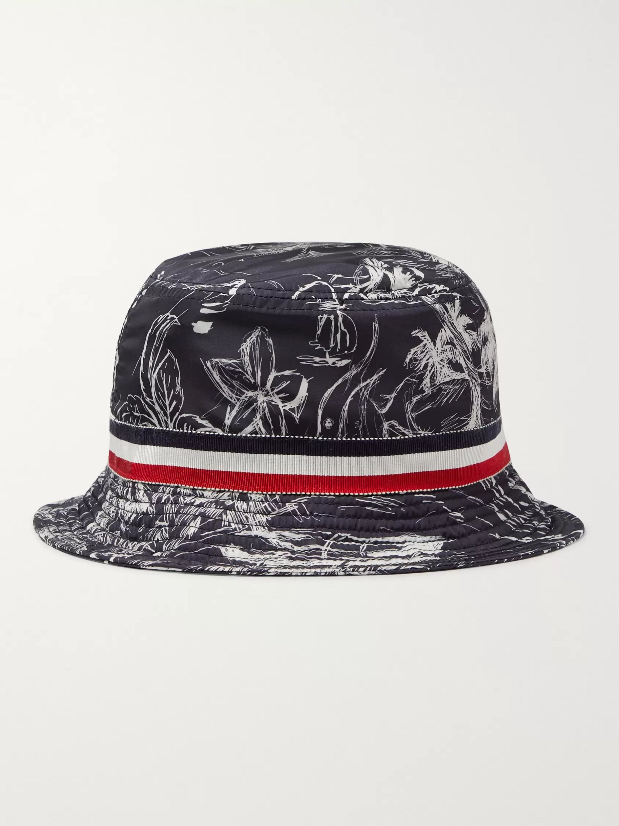 Moncler Grosgrain-Trimmed Printed Shell Bucket Hat