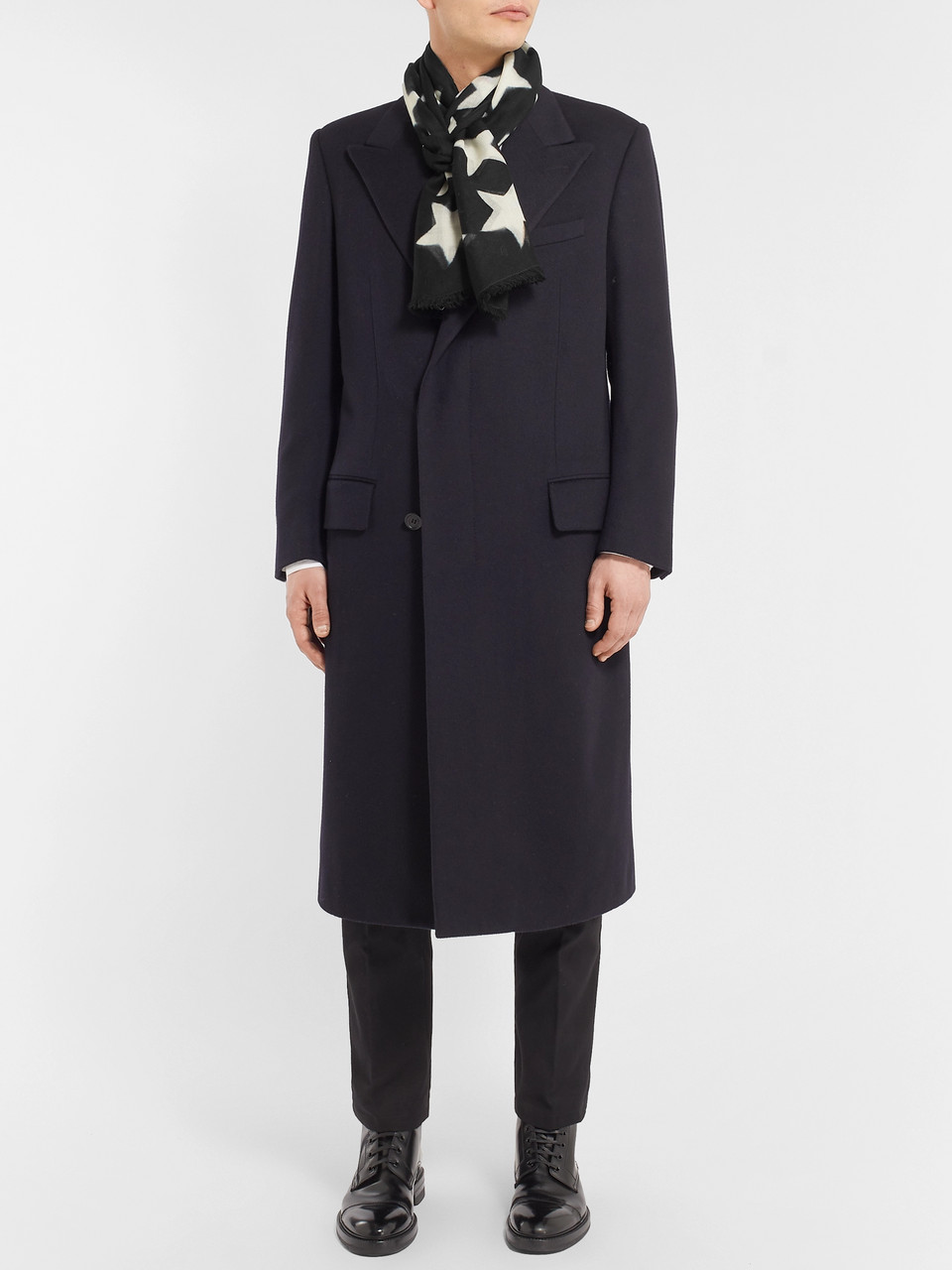 Paul Smith Fringed Star-Print Wool-Gauze Scarf