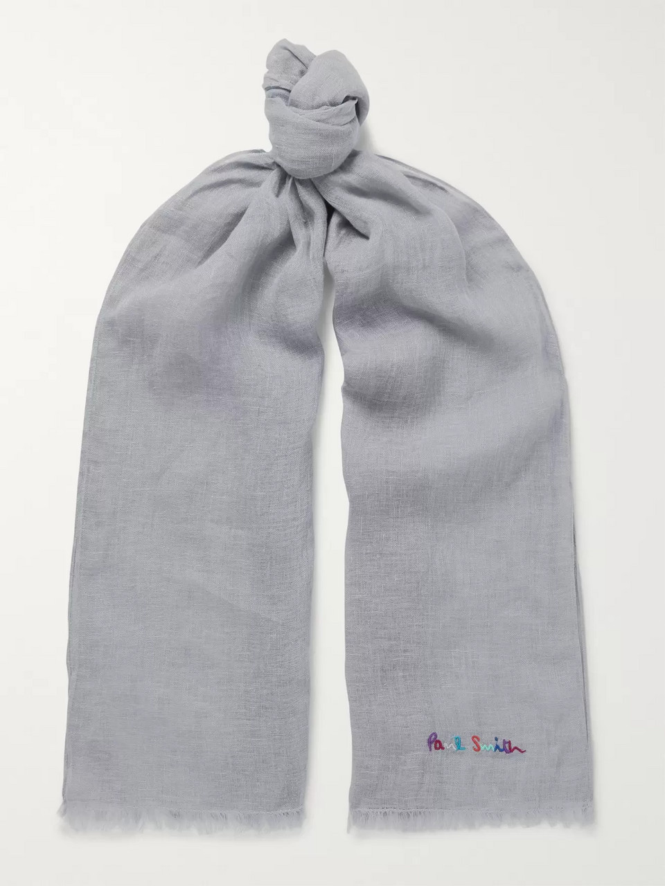 Paul Smith Logo-Embroidered Slub Linen Scarf