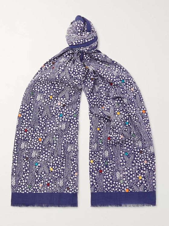 Paul Smith Embroidered Printed Cotton-Voile Scarf
