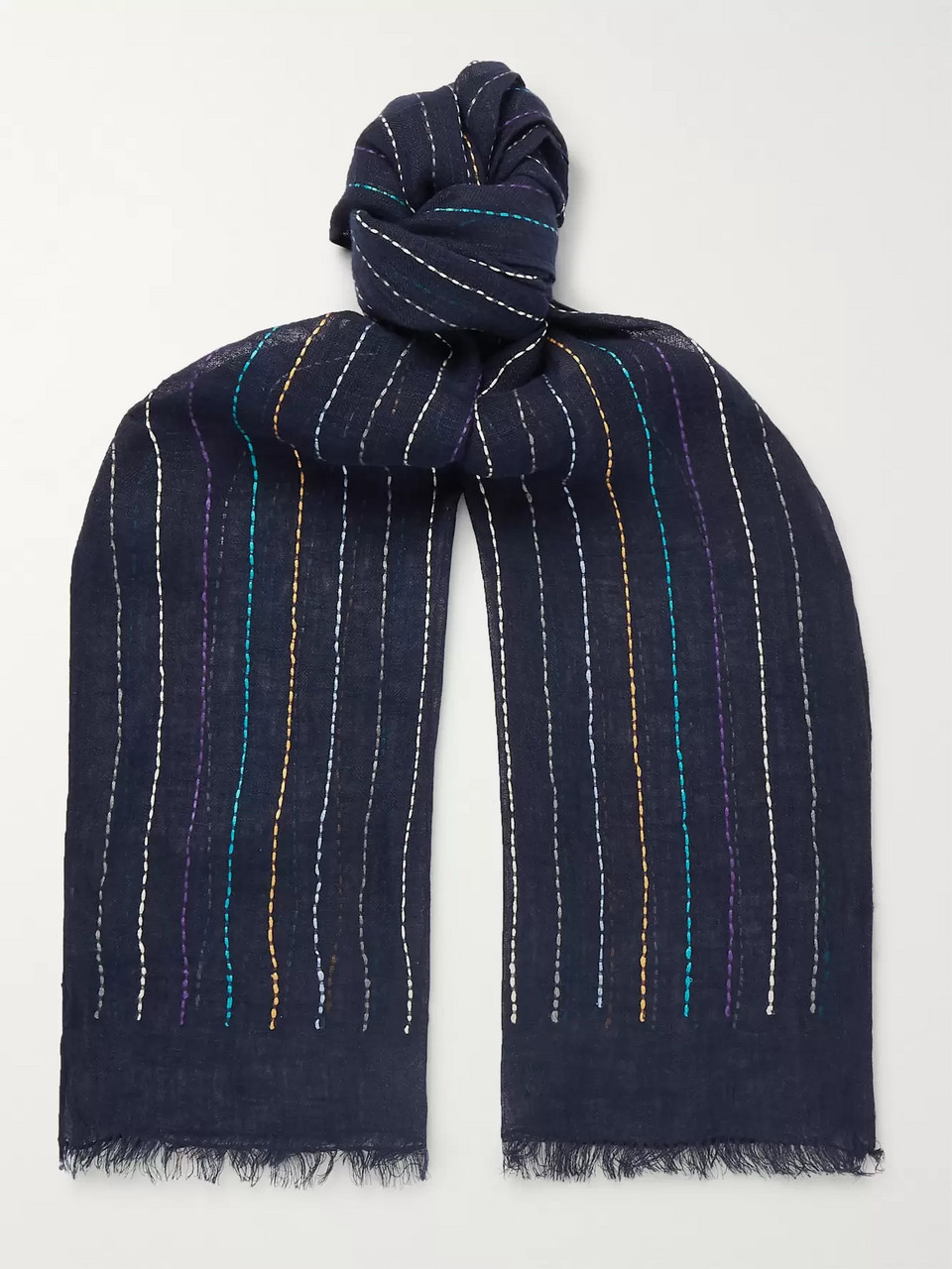 Paul Smith Fringed Embroidered Linen Scarf