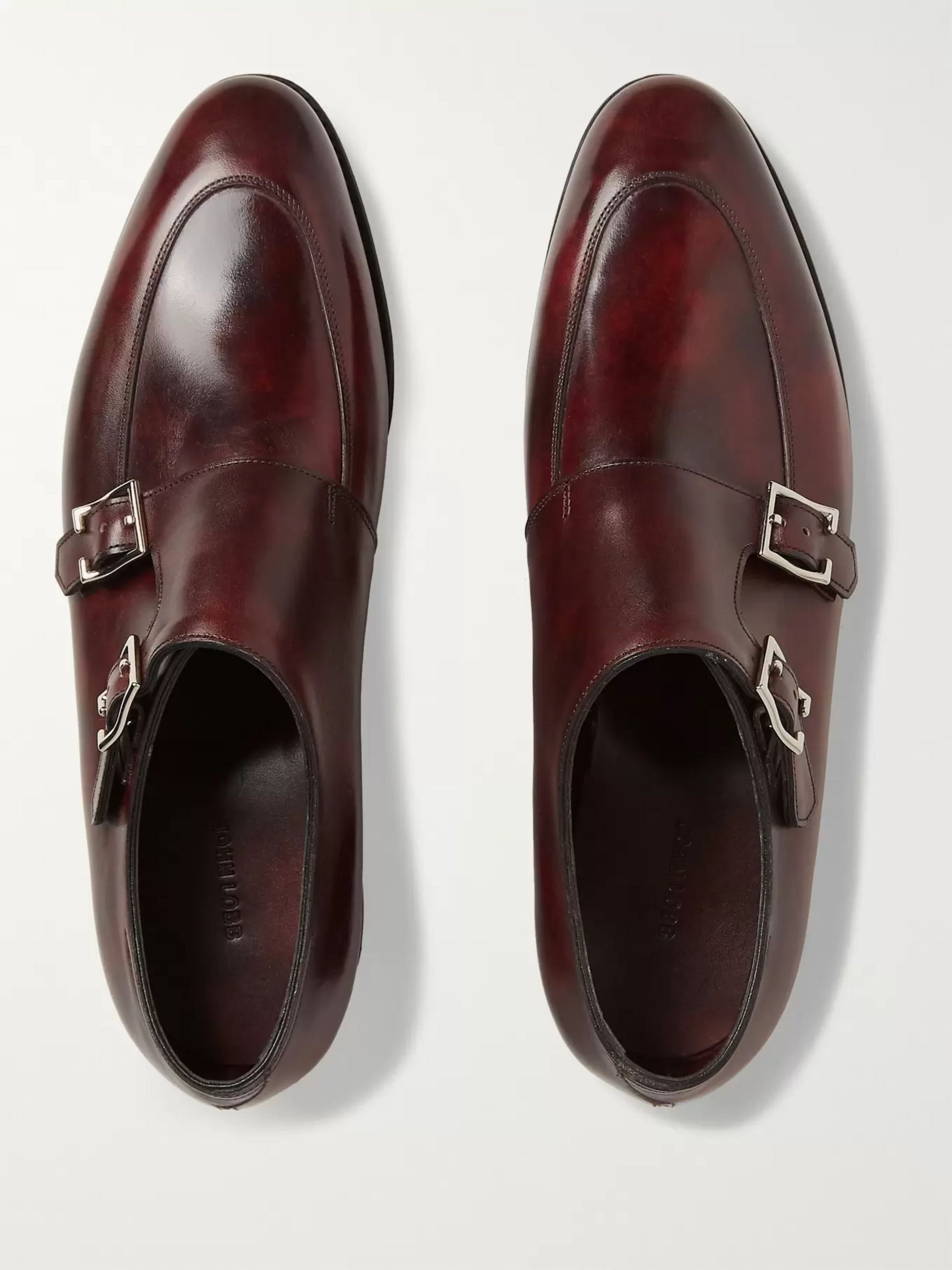 John Lobb Sennen Burnished-Leather Monk Strap Shoes