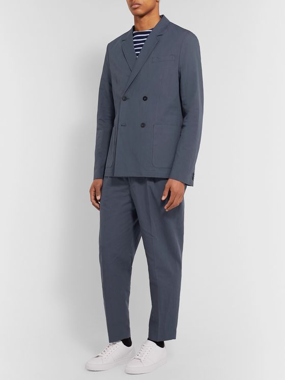MR P. Dark-Blue Unstructured Double-Breasted Linen and Cotton-Blend Suit Jacket