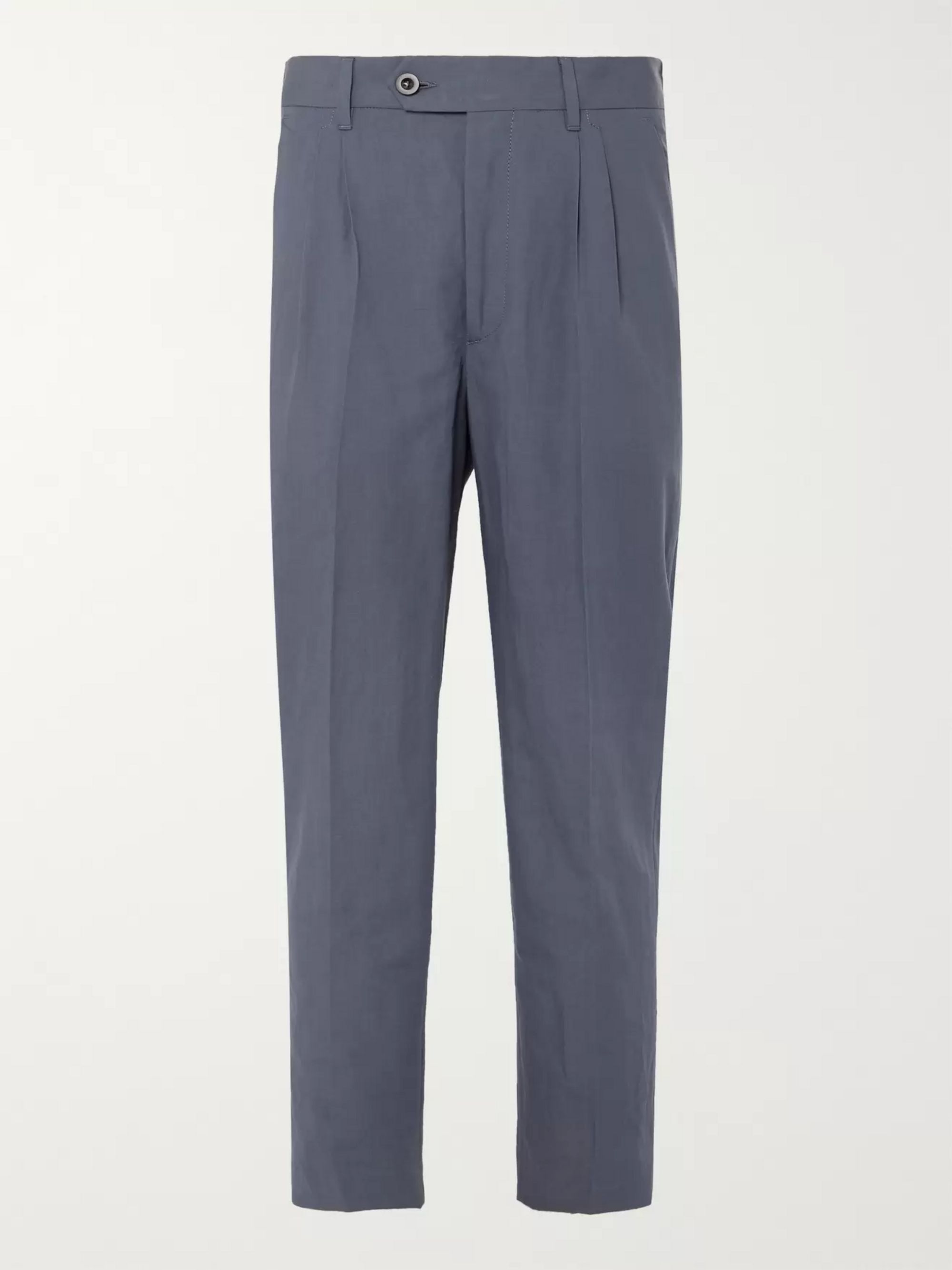 Mr P. Tapered Pleated Linen and Cotton-Blend Cropped Suit Trousers
