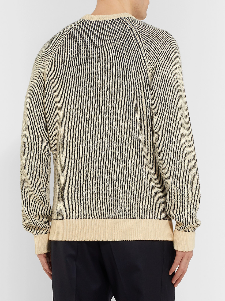 Mr P. Striped Ribbed Cotton-Blend Sweater