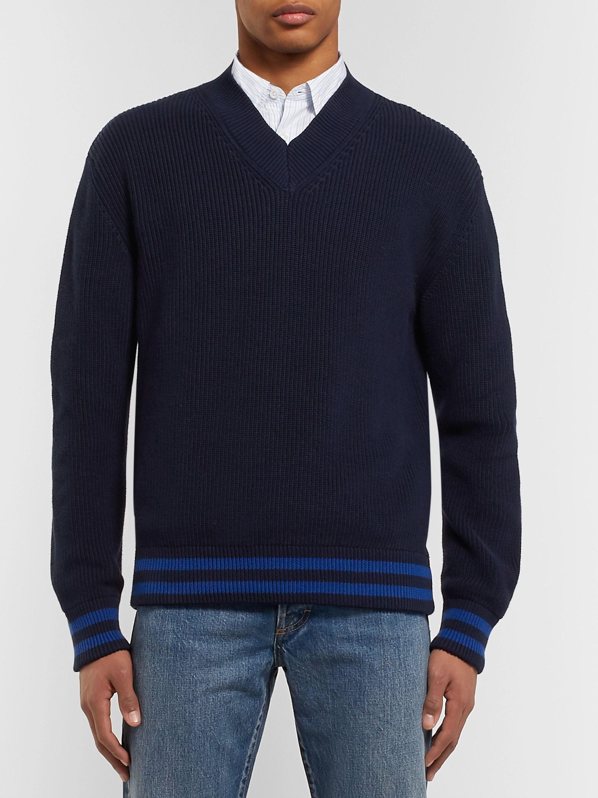 Mr P. Striped Ribbed Cotton Sweater