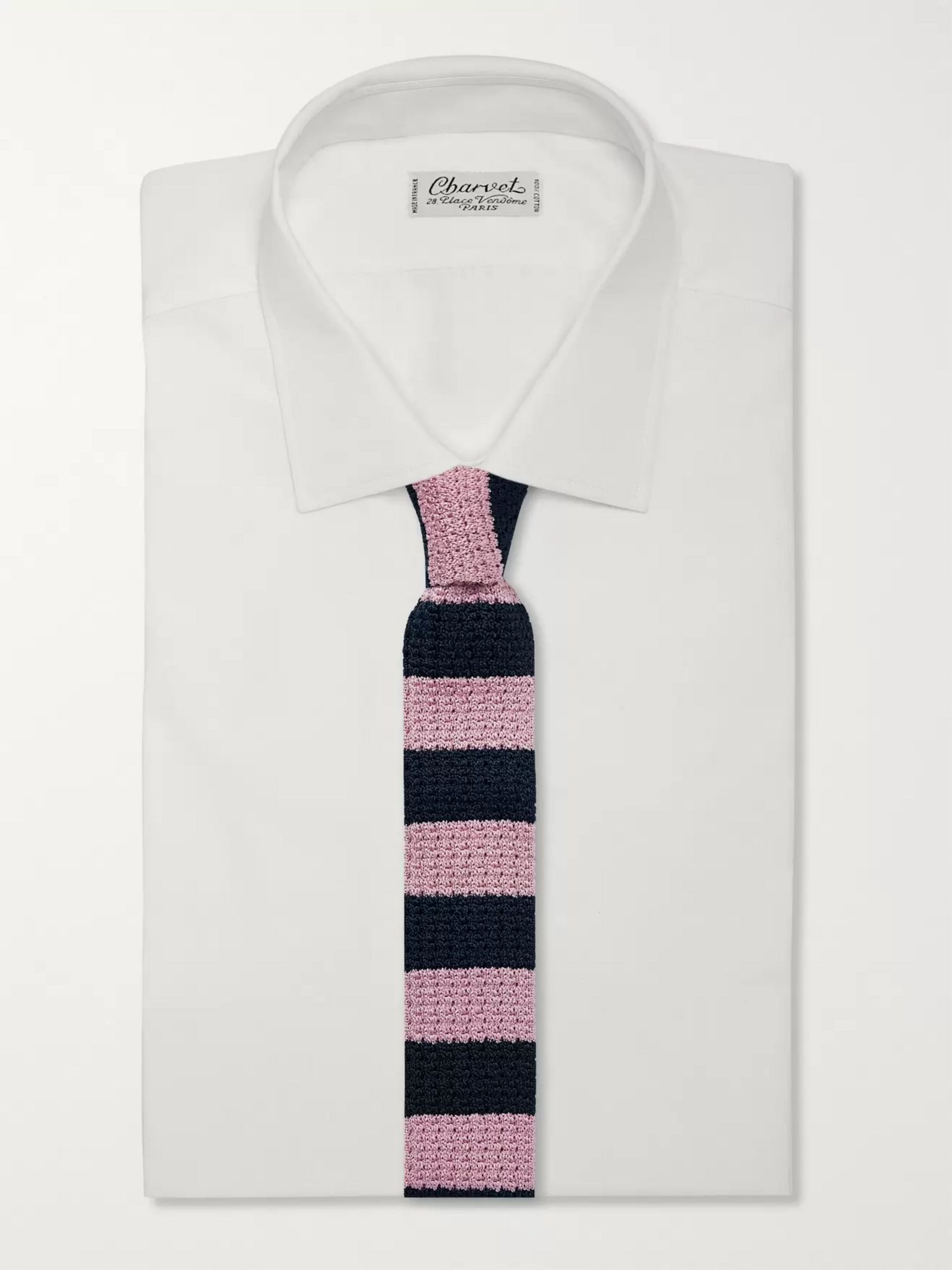 Mr P. 6cm Striped Knitted Silk Tie