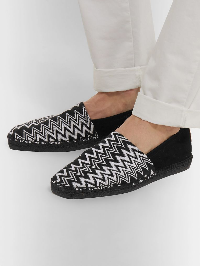 Castañer + Missoni Crochet-Knit and Suede Espadrilles