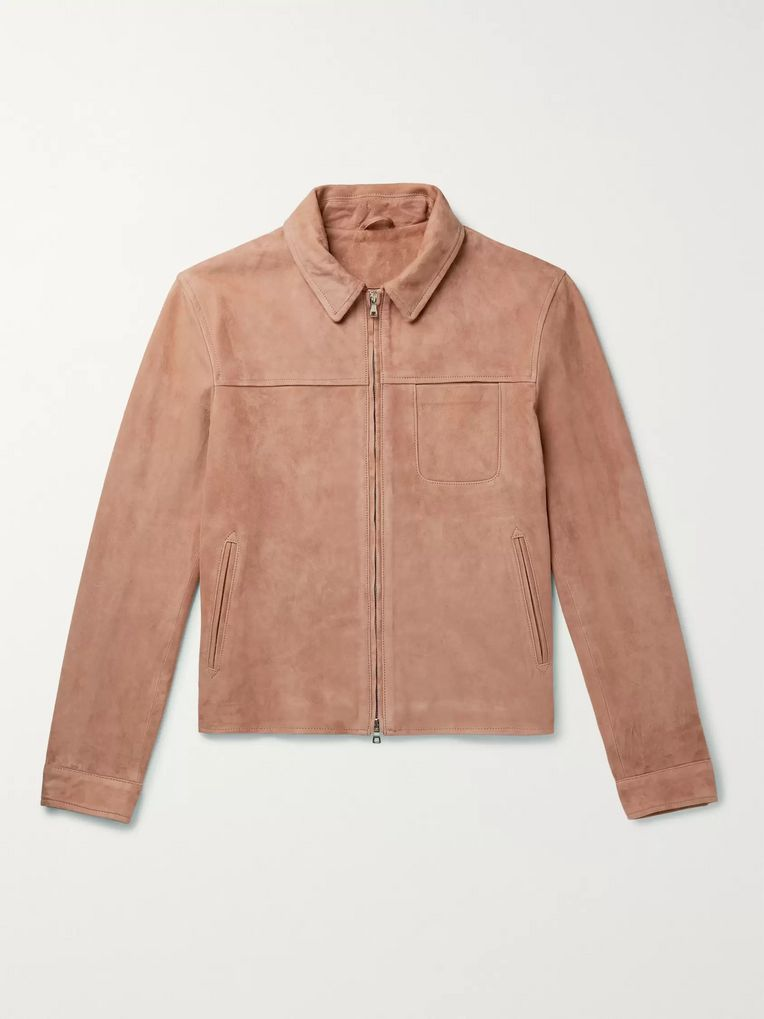 Mr P. Slim-Fit Suede Blouson Jacket