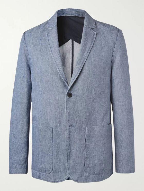 MR P. Light-Blue Cotton and Linen-Blend Chambray Blazer