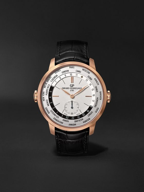 Girard-Perregaux 1966 WW.TC Automatic 40mm 18-Karat Rose Gold and Alligator Watch, Ref. No. 49557-52-131-BB6C