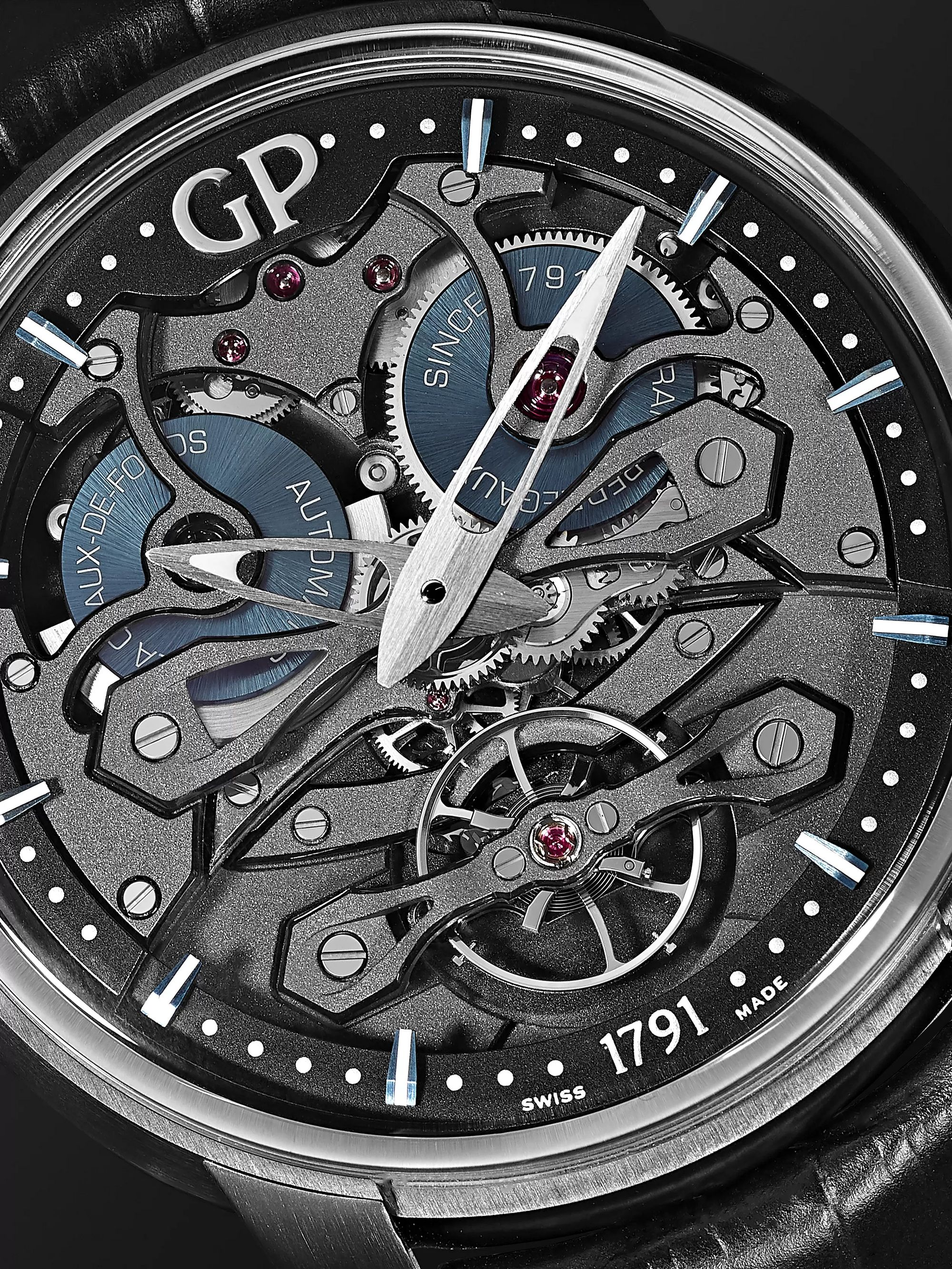 GIRARD-PERREGAUX Neo Bridges Earth to Sky Automatic 45mm Titanium and Alligator Watch, Ref. No. 84000-21-632-BH6A