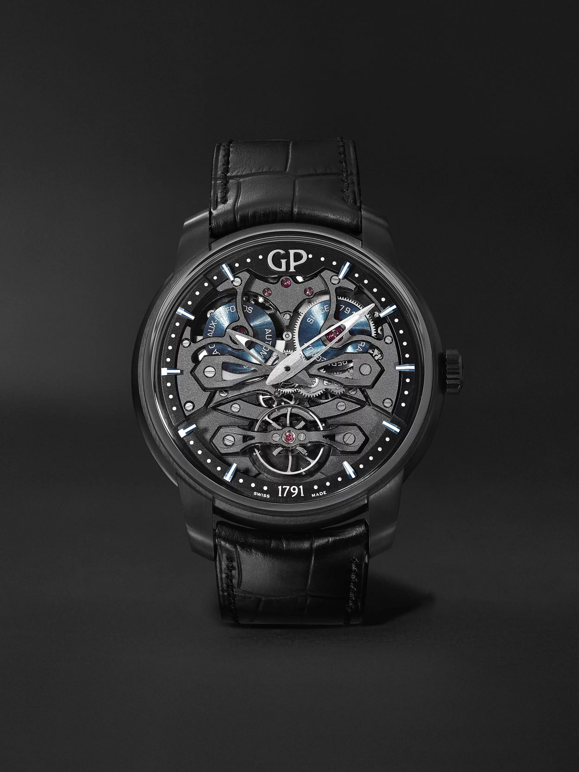 Girard-Perregaux Neo Bridges Earth to Sky Automatic 45mm Titanium and Alligator Watch