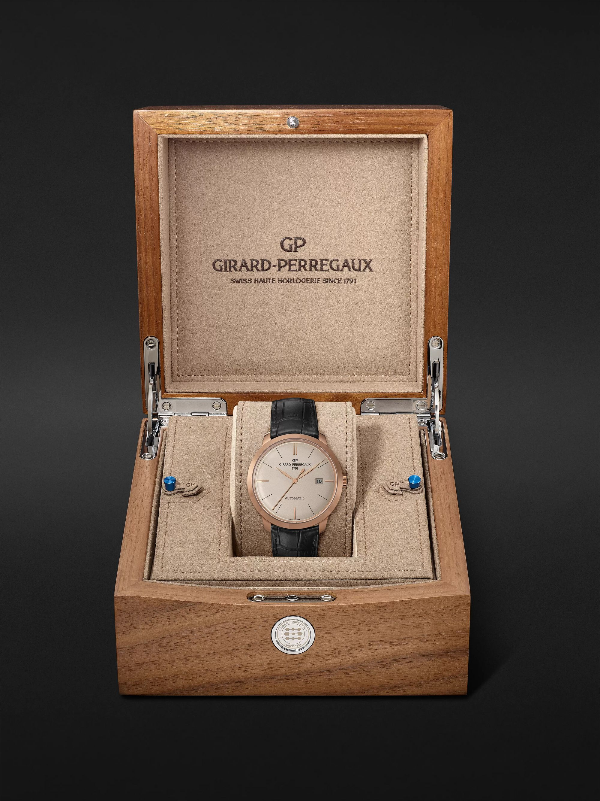 GIRARD-PERREGAUX 1966 Automatic 40mm 18-Karat Rose Gold and Alligator Watch, Ref. No. 49555-52-132-BB60
