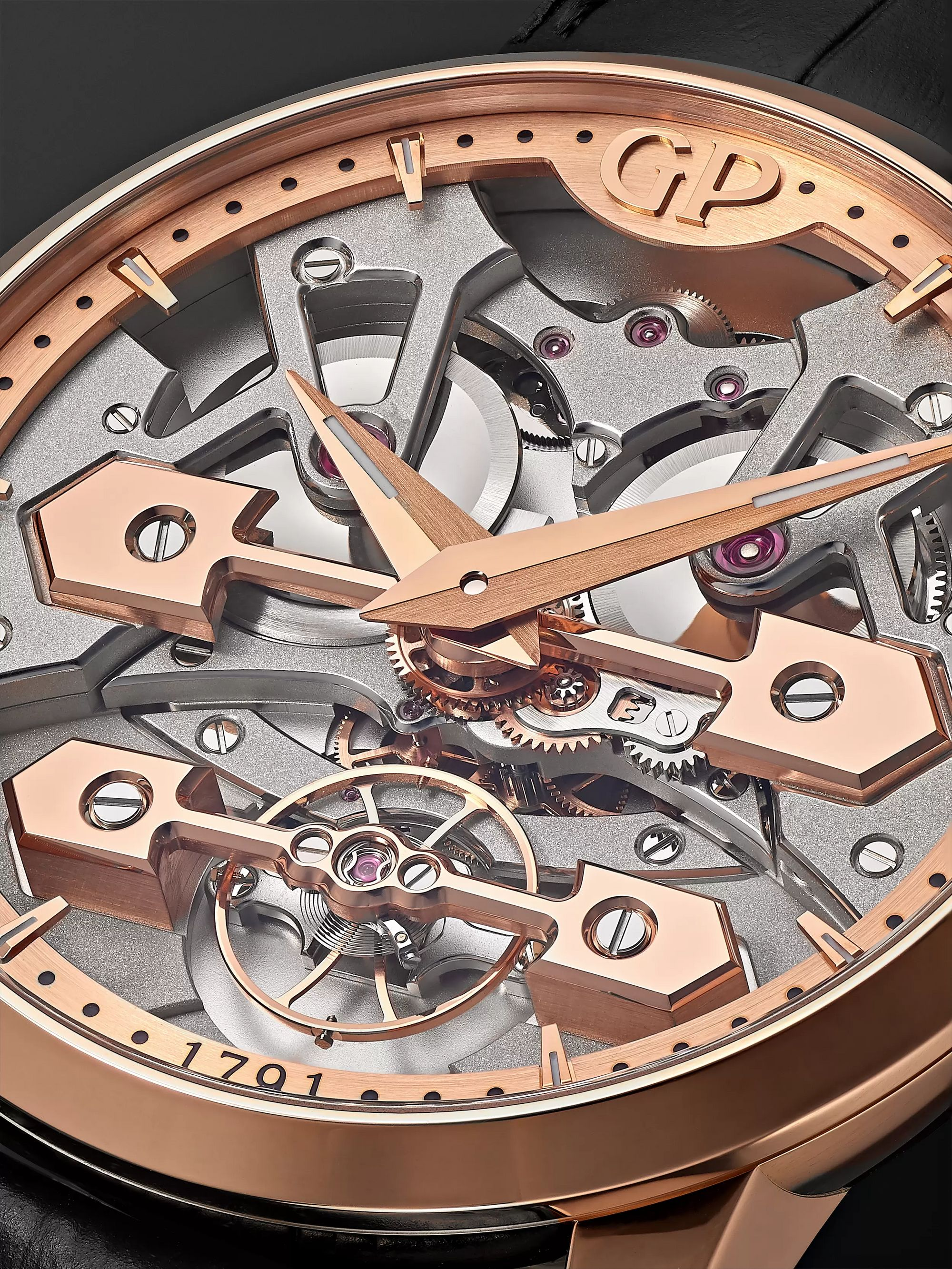 Girard-Perregaux Classic Bridges Automatic Skeleton 45mm Rose Gold and Alligator Watch, Ref. No. 86000-52-001-BB6A