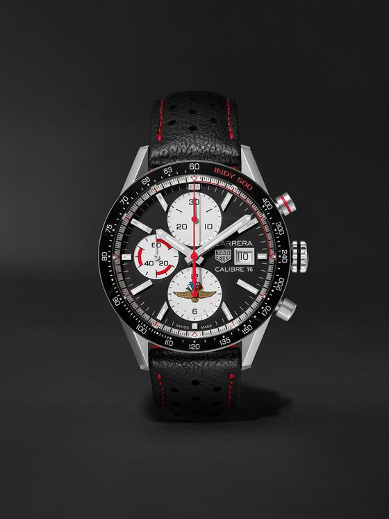 TAG Heuer Carrera Limited Edition Indy 500 Automatic Chronograph 41mm Steel and Leather Watch, Ref. No. CV201AS.FC6429