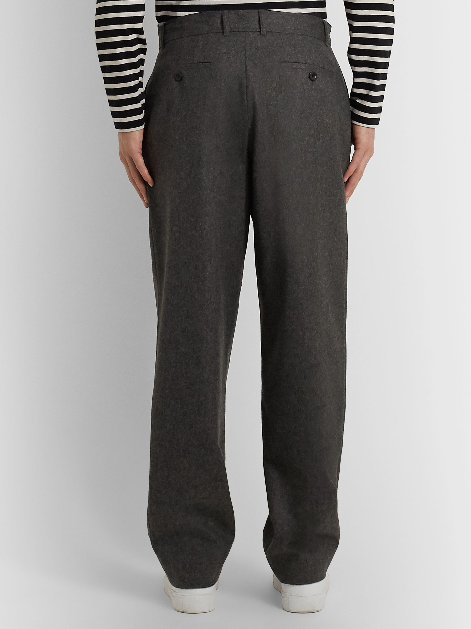 Mr P. Wide-Leg Grey Wool-Flannel Trousers