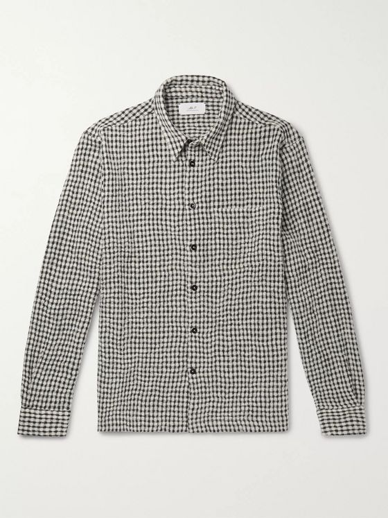 Mr P. Micro-Checked Virgin Wool-Blend Flannel Shirt