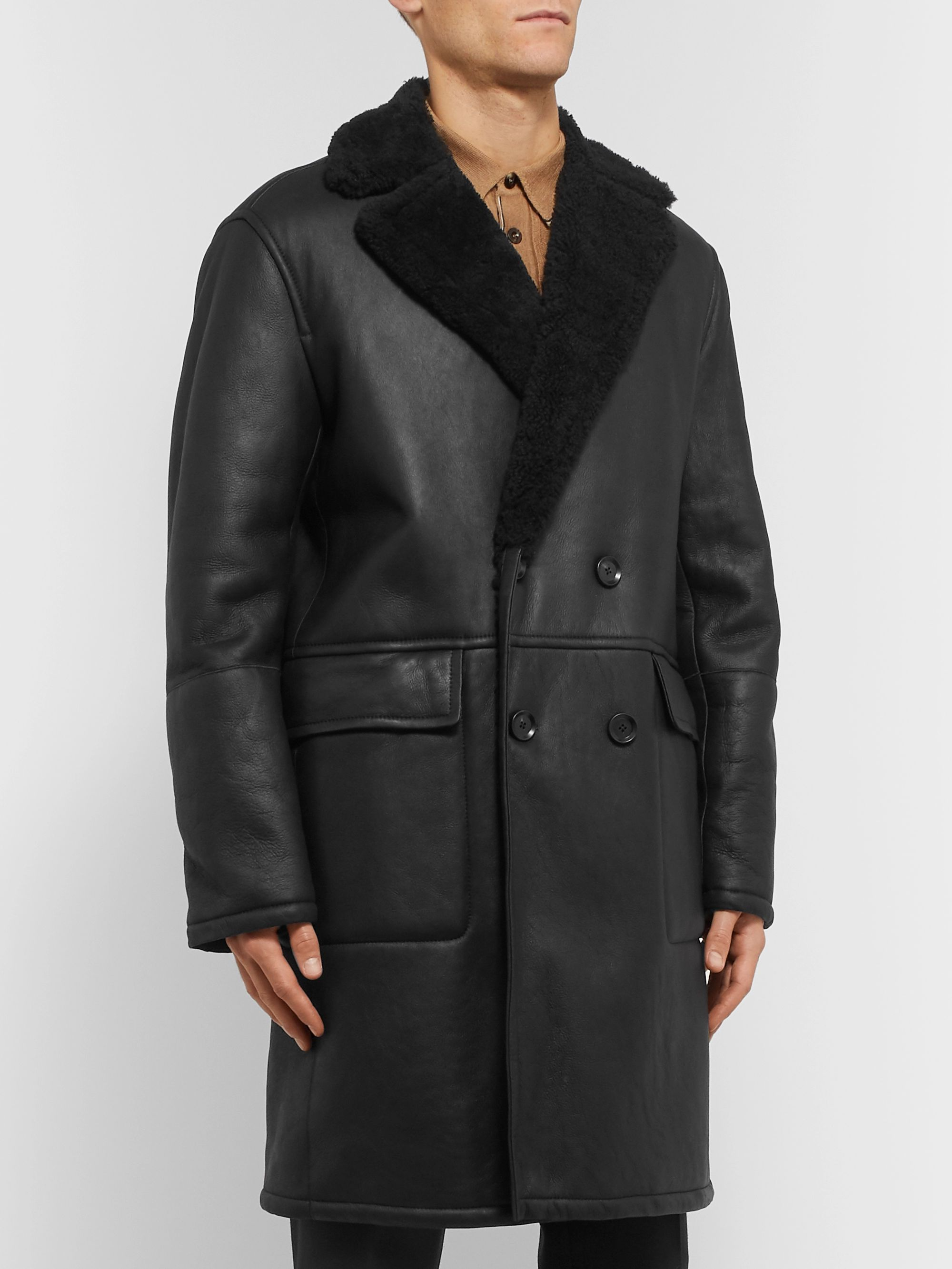 Mr P. Oversized Double-Breasted Shearling Coat