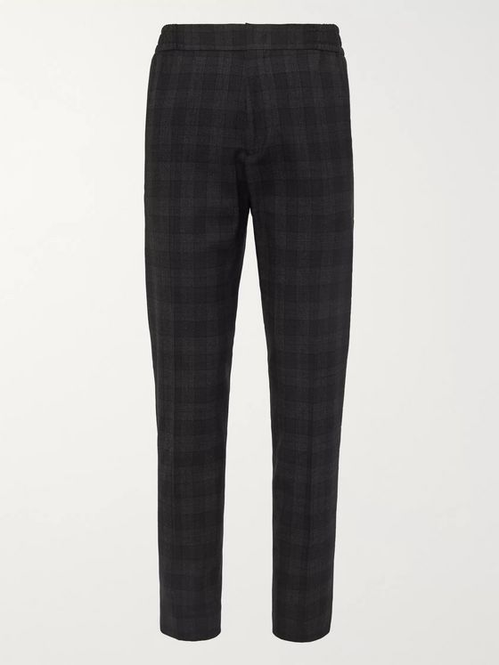MR P. Slim-Fit Tapered Checked Stretch Wool and Cotton-Blend Trousers