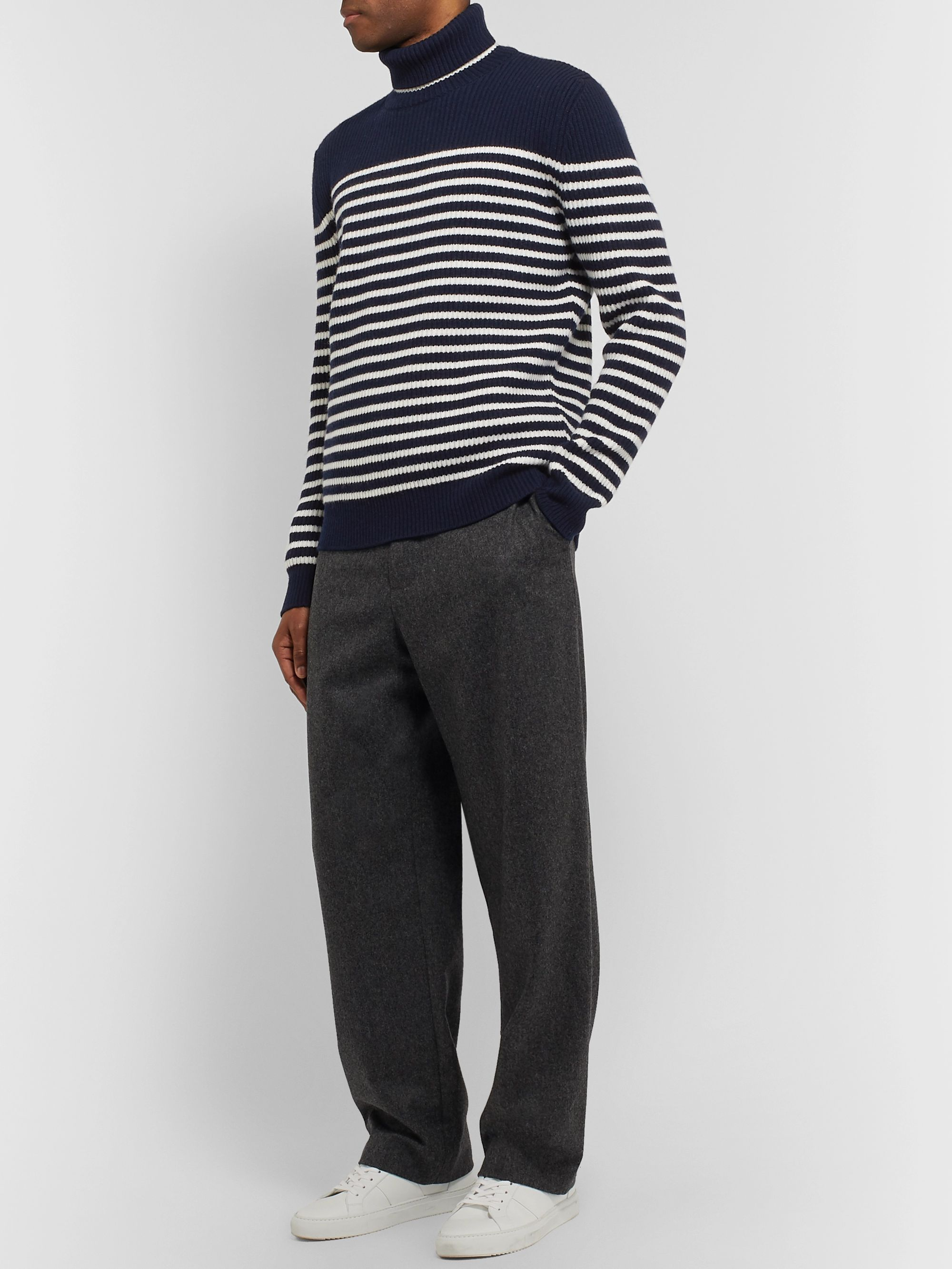 Mr P. Striped Virgin Wool Rollneck Sweater