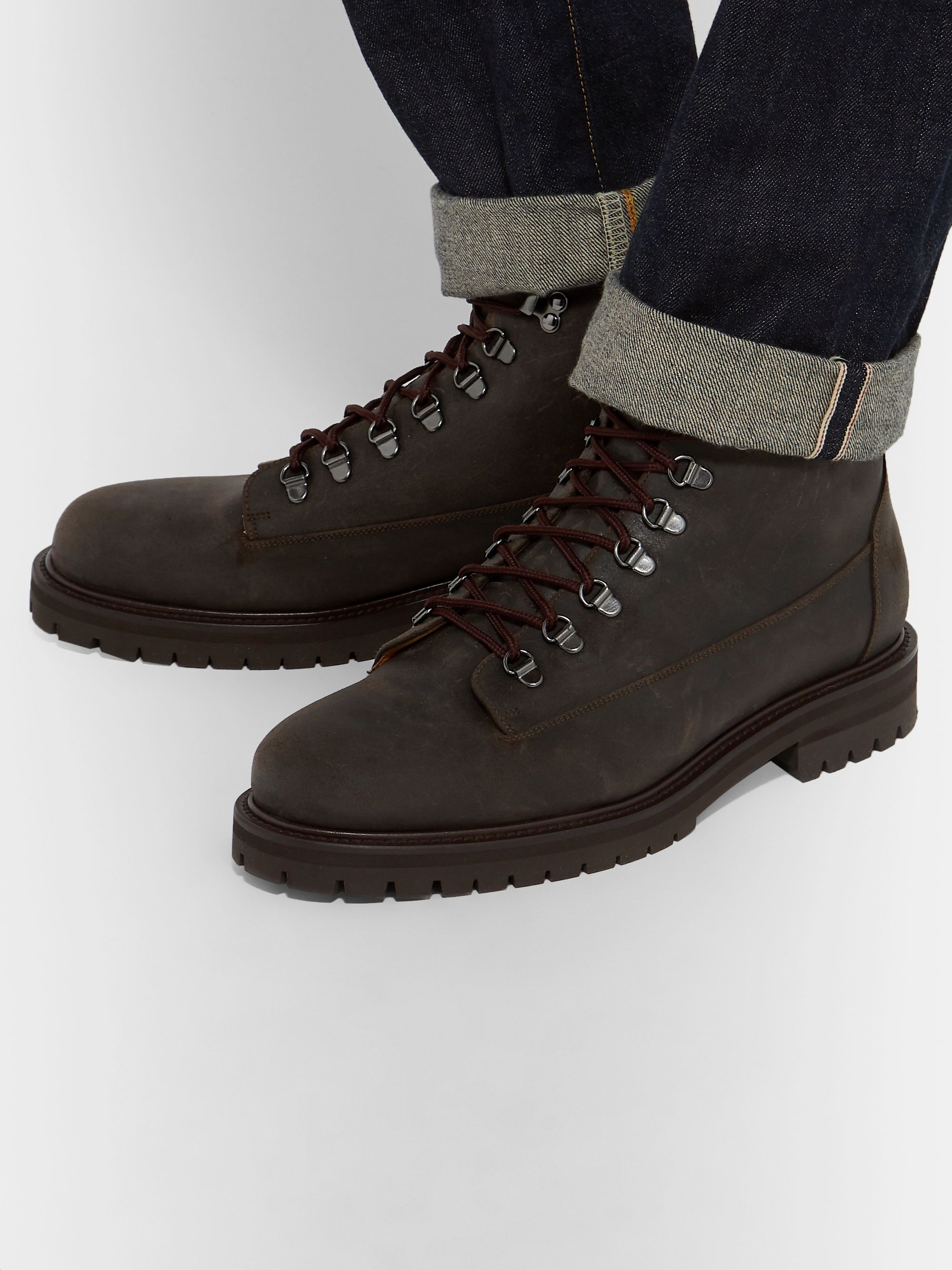 Mr P. Jacques Shearling-Lined Waxed-Suede Boots