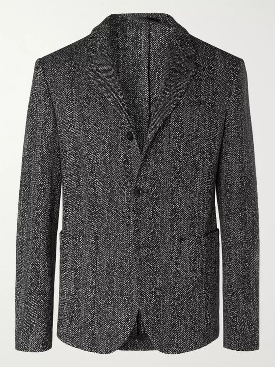 Mr P. Grey Unstructured Herringbone Mélange Cotton and Wool-Blend Blazer