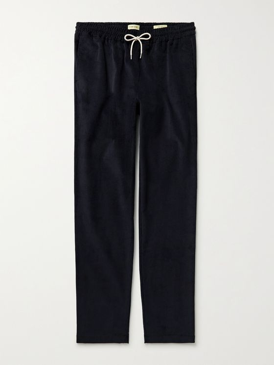 DE BONNE FACTURE Slim-Fit Cotton-Corduroy Drawstring Trousers