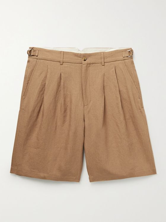DE BONNE FACTURE Pleated Linen Shorts