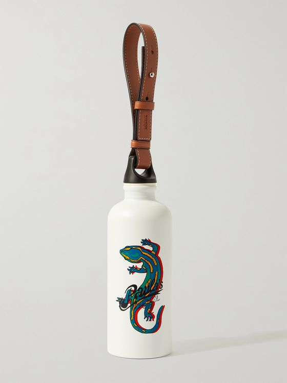 LOEWE + Paula's Ibiza Leather-Trimmed Printed Aluminium Water Bottle, 500ml