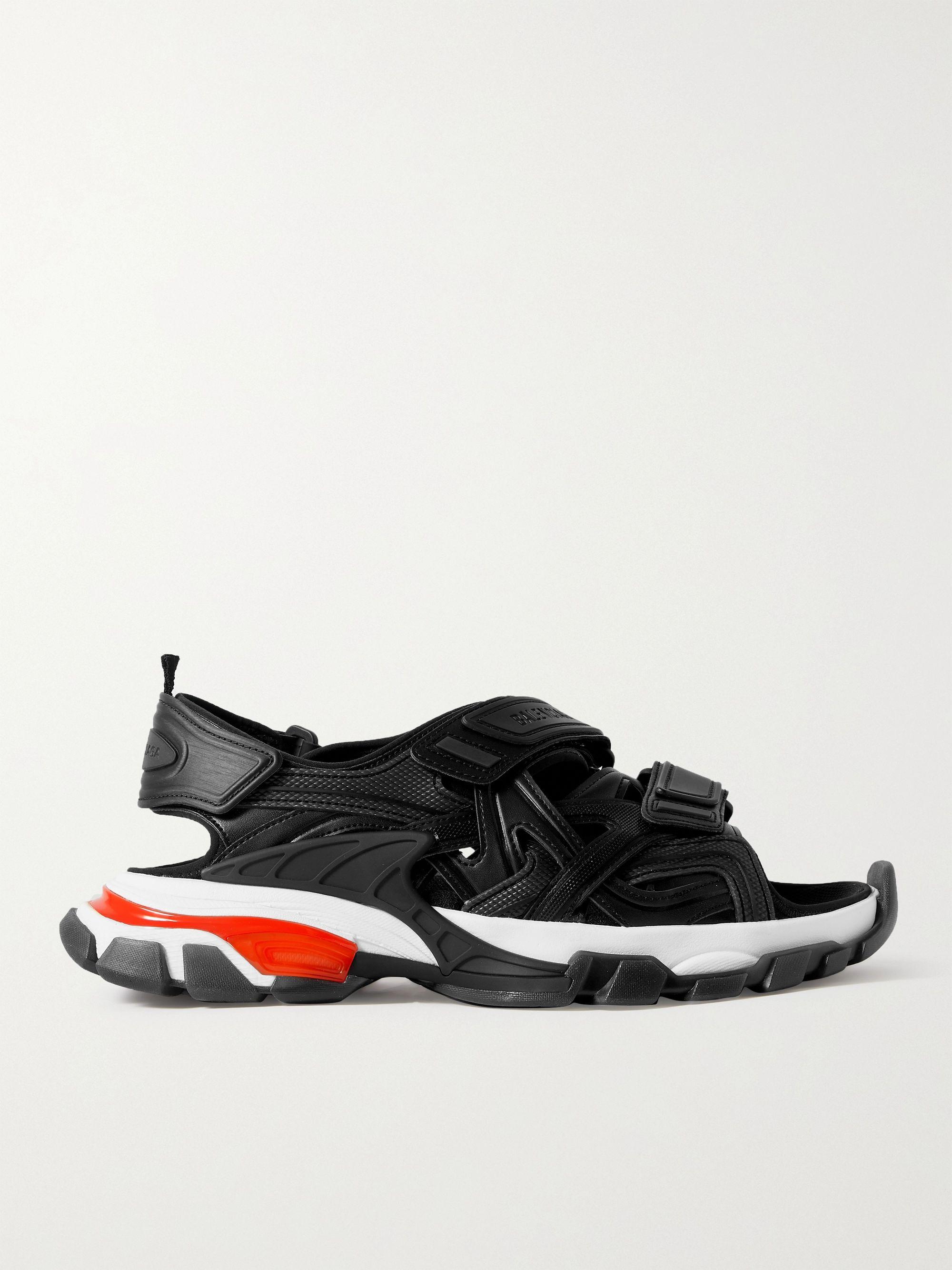 발렌시아가 Balenciaga Track Neoprene and Rubber Sandals,Black