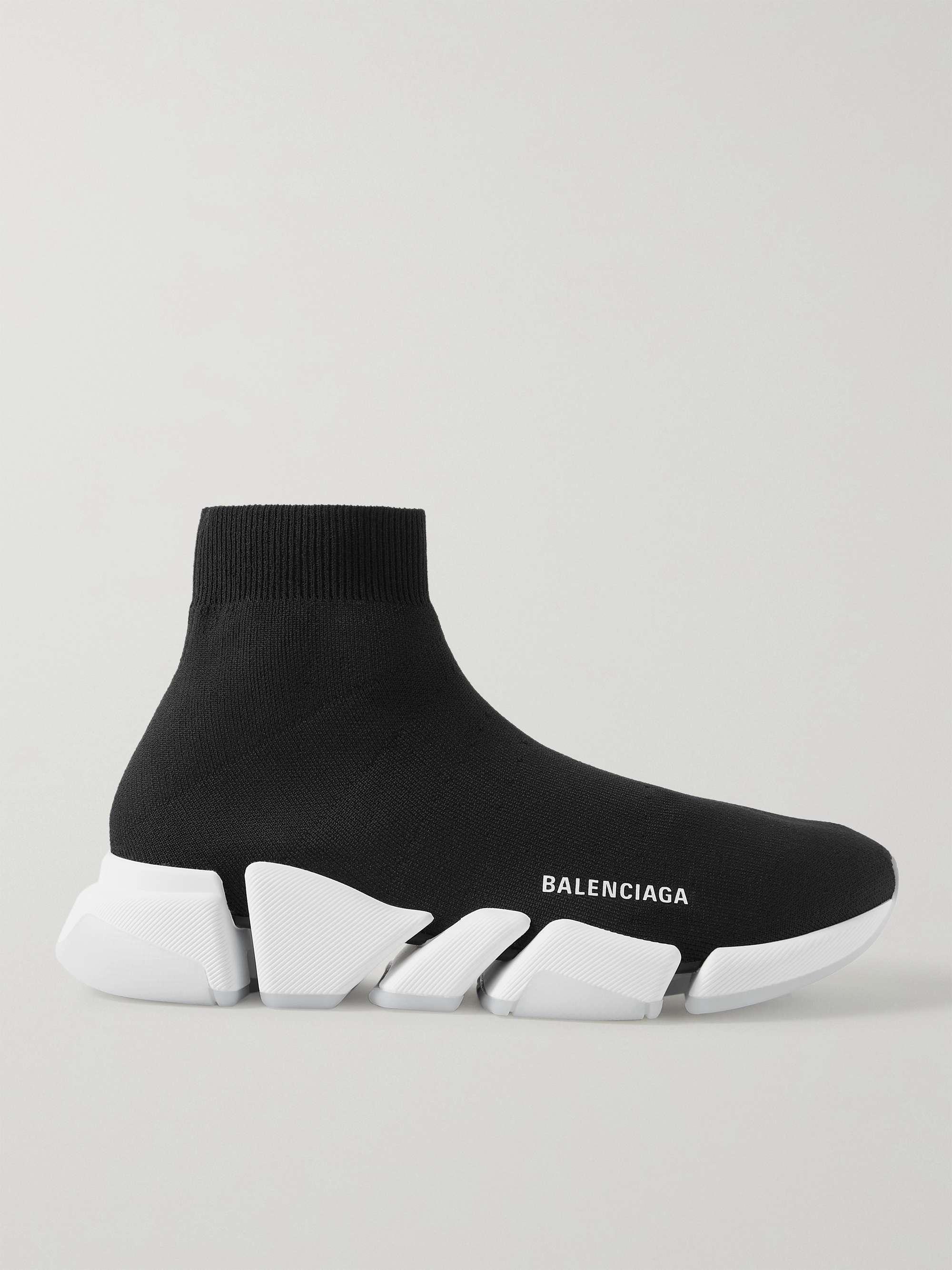 발렌시아가 스피드러너 2.0 남성용 - 블랙 Balenciaga Speed 2.0 Logo-Print Stretch-Knit Slip-On Sneakers,Black