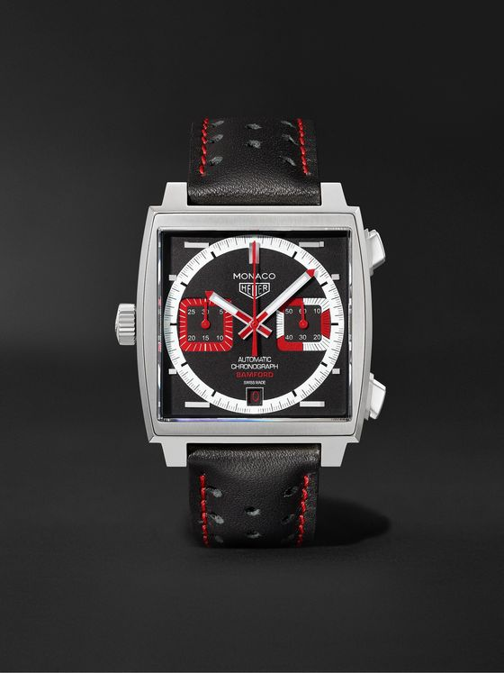 BAMFORD WATCH DEPARTMENT + TAG Heuer Monaco Automatic Chronograph 39mm Stainless Steel and Leather Watch, Ref. No. BWDMC3