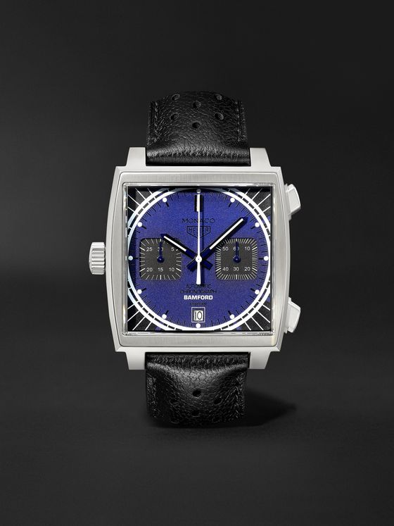 BAMFORD WATCH DEPARTMENT + TAG Heuer Monaco Automatic Chronograph 39mm Stainless Steel and Leather Watch, Ref. No. BWDMC2