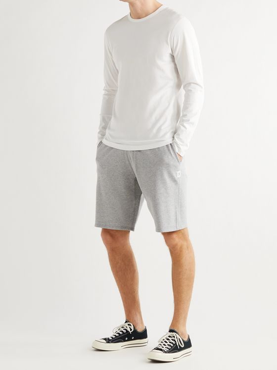 REIGNING CHAMP Wide-Leg Mélange Loopback Pima Cotton-Jersey Drawstring Shorts
