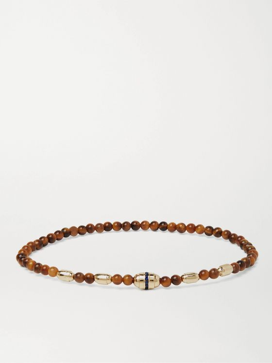 LUIS MORAIS 14-Karat Gold, Tiger's Eye and Sapphire Bracelet
