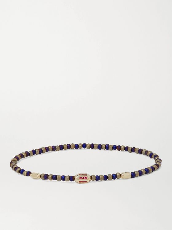 LUIS MORAIS 14-Karat Gold, Ruby and Bead Bracelet