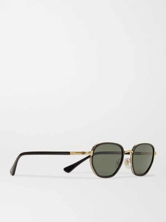 PERSOL Round-Frame Acetate and Gold-Tone Polarised Sunglasses