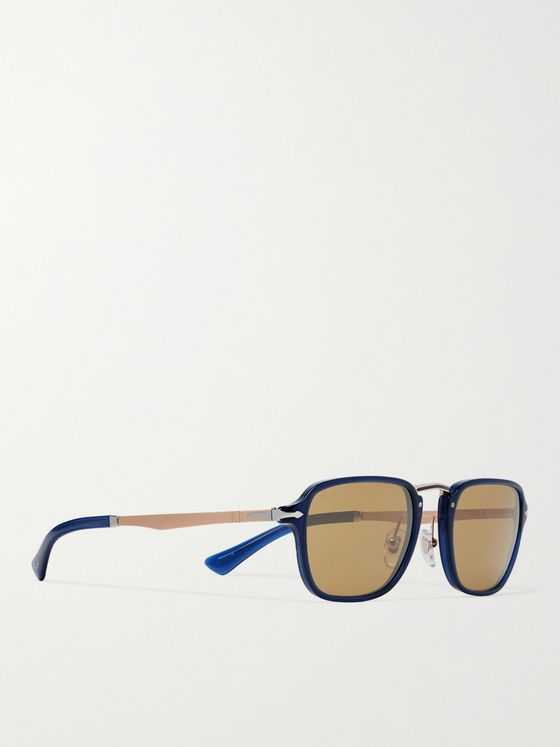 PERSOL Square-Frame Acetate and Gold-Tone Sunglasses