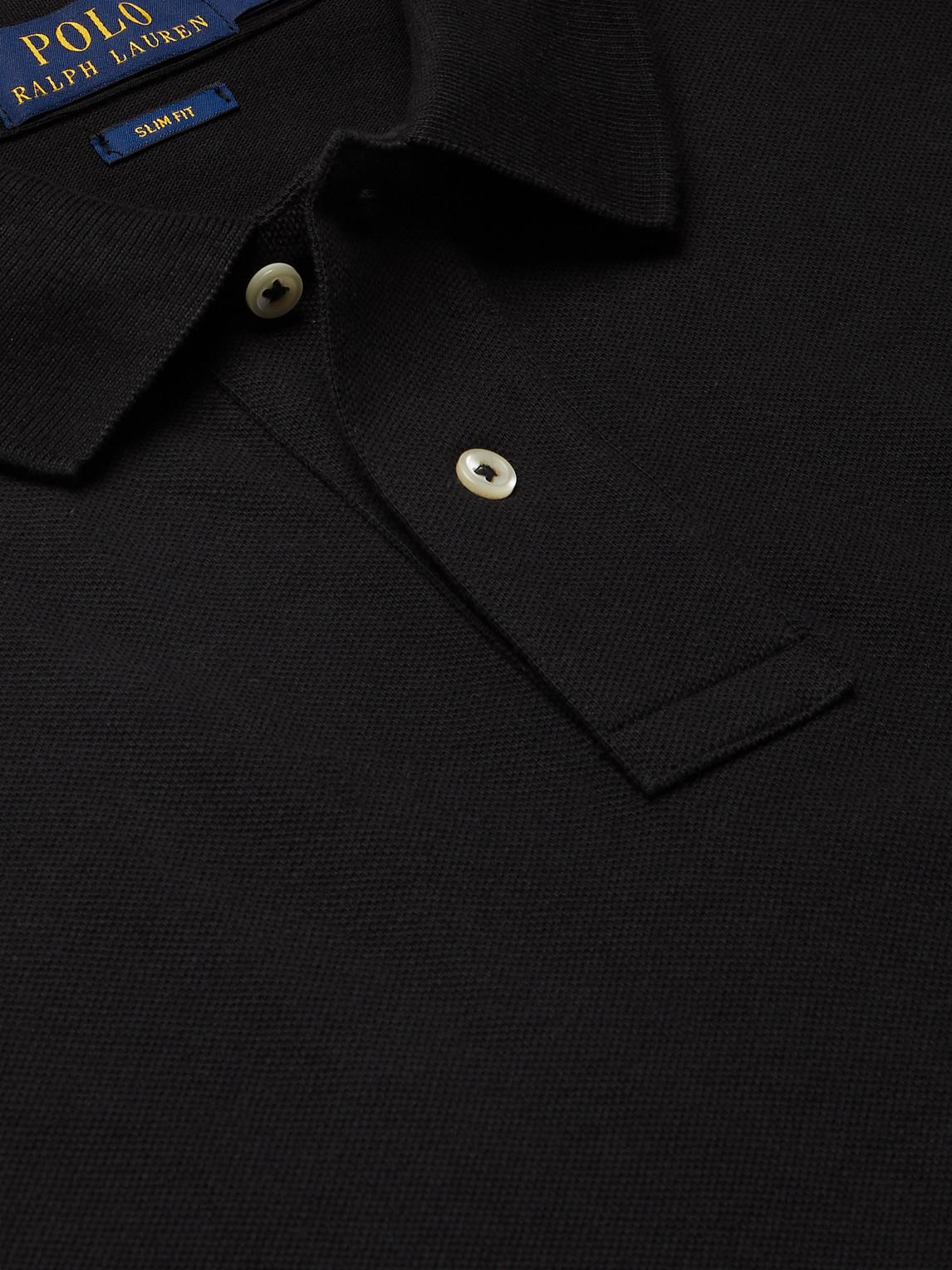POLO RALPH LAUREN Cottons SLIM-FIT LOGO-EMBROIDERED COTTON-PIQUE POLO SHIRT