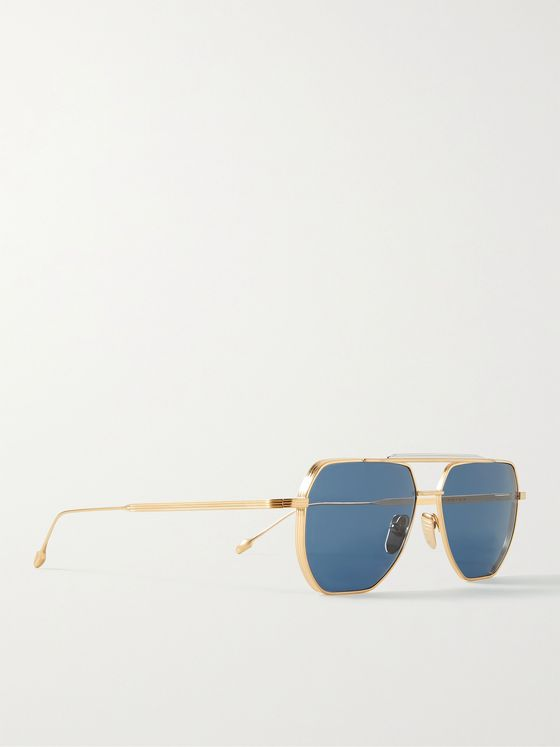 JACQUES MARIE MAGE Brion Aviator-Style Gold- and Silver-Tone Sunglasses