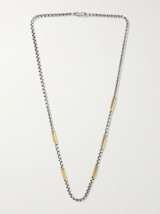 DAVID YURMAN Streamline Sterling Silver and 18-Karat Gold Chain Necklace