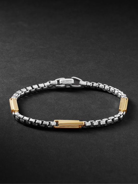 DAVID YURMAN Streamline Sterling Silver and 18-Karat Gold Chain Bracelet