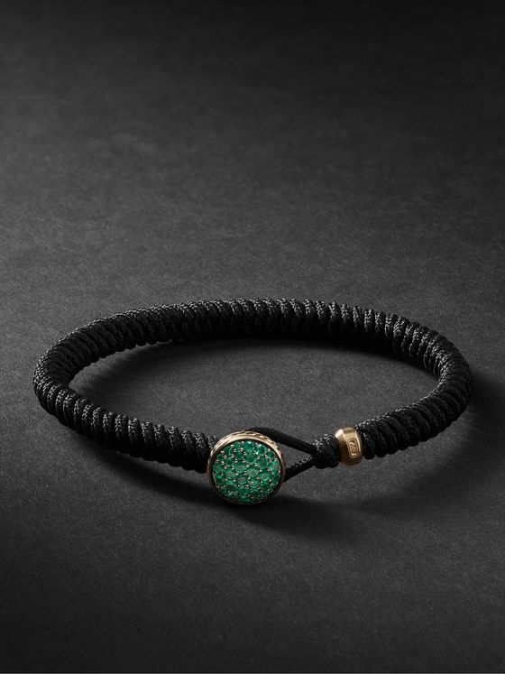 DAVID YURMAN Woven Nylon, 18-Karat Gold and Emerald Bracelet