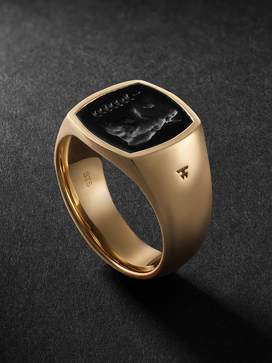 TOM WOOD Gold Onyx Signet Ring